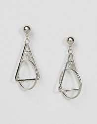 Asos Open Triangle And Circle Drop Earrings Rhodium Silver