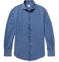 Brunello Cucinelli Slim Fit Cutaway Collar Cotton Chambray Shirt Blue