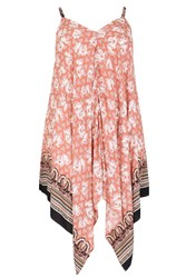 Samya Plus Size Printed Scarf Hem Dress Pink