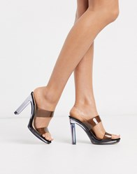 Topshop Clear Heeled Mule In Black