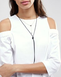 Johnny Loves Rosie Layered Tie Necklace Black Gold