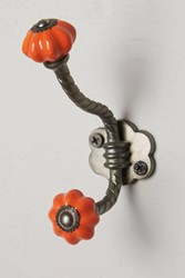 Anthropologie Ceramic Melon Hook Orange
