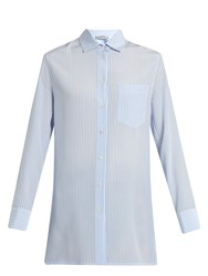 Valentino Cowl Back Striped Silk Shirt Blue Stripe