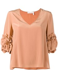 See By Chloe Frilled Sleeve Blouse Pink Purple