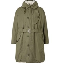 Sandro Shearling Trimmed Cotton Canvas Hooded Parka Green