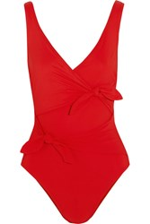 Karla Colletto Barcelona Tie Front Swimsuit Red