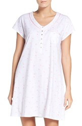 Eileen West Women's Cotton Sleep Shirt White Print