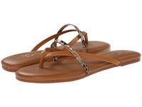 Yosi Samra River Two Tone Leather Thong Flip Flop W Crossover Strap Whiskey Women's Sandals Brown