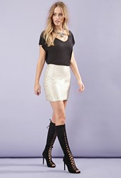 Forever 21 Matte Sequined Mini Skirt Taupe