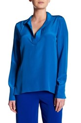Amanda Uprichard Monday Silk Blouse Blue