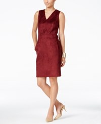 Thalia Sodi Faux Suede Sheath Dress Only At Macy's Berry Wine