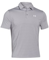 Under Armour Men's Playoff Performance Striped Golf Polo True Grey Heather White
