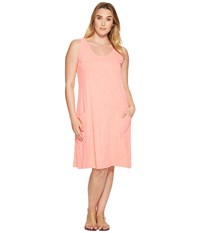 Extra Fresh By Fresh Produce Plus Size Drape Dress Sunset Coral Women's Dress Khaki
