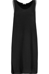 Splendid Layered Open Knit And Striped Stretch Jersey Dress Black