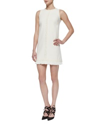 Andrew Gn Wool Crepe Sleeveless Braid Trim Dress