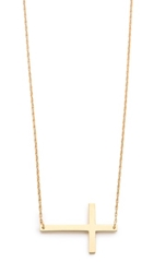 Jennifer Zeuner Jewelry Horizontal Cross Necklace Gold