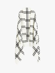 J.Crew Windowpane Cape Scarf Grey Ivory