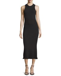 Grey By Jason Wu Ribbed Crewneck Midi Dress Black Black Multi