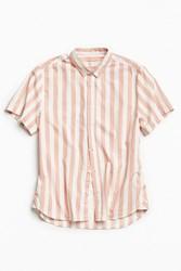 Urban Outfitters Uo Preppy Stripe Short Sleeve Button Down Shirt Pink