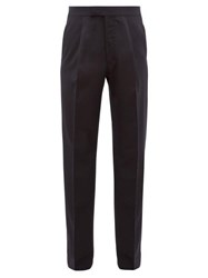 The Row Martin Pleated Wool Wide Leg Trousers Navy