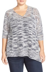 Nic Zoe 'Sugared Sunset' Asymmetrical V Neck Top Plus Size Midnight Mix