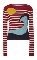 Red Valentino Striped Wave Sweater
