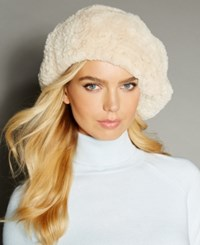 The Fur Vault Knitted Beaver Beret Pearl