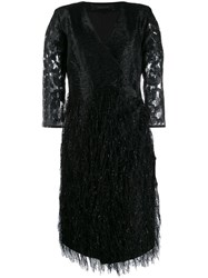 Federica Tosi Fringe Embellished Party Dress Black