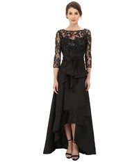 Adrianna Papell Sequin Illusion High Low Gown Black Women's Dress