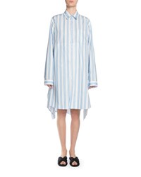 Long Sleeve Striped Cotton Shirtdress White Blue White Blue