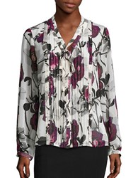 Karl Lagerfeld Long Sleeve Floral Blouse Creme
