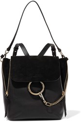 Chloe Faye Medium Textured Leather And Suede Backpack Black