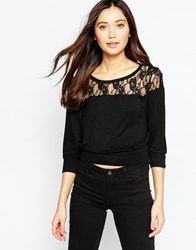 Pussycat London Top With Lace Panel Black
