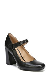 Naturalizer Women's Reva Mary Jane Pump Black Leather Snake Leather