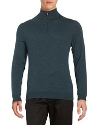 Black Brown Superfine Merino Half Zip Sweater Morning Teal
