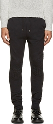 Balmain Black Wave Quilted Biker Lounge Pants