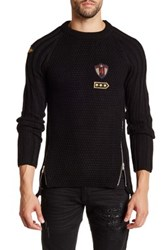 Ron Tomson Long Sleeve Zip And Patch Sweater Black