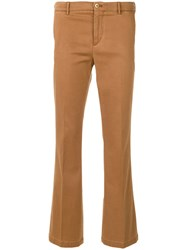 Pt01 Skinny Fitted Trousers Cotton Spandex Elastane Lyocell Brown
