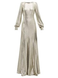 Goat Illusion Balloon Sleeve Foiled Jersey Dress Silver