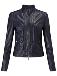 Hugo Boss Boss Orange Janassi Leather Biker Jacket Dark Blue