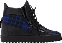 Giuseppe Zanotti Women's Plaid And Leather Double Zip Sneakers Blue