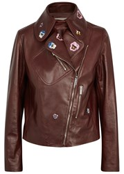 Christopher Kane Brown Pansy Embroidered Leather Jacket Burgundy
