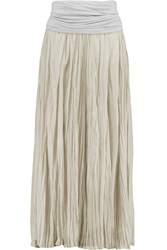 Donna Karan Broomstick Crinkled Stretch Silk Maxi Skirt Gray