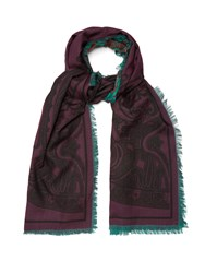 Etro Reversible Wool And Silk Blend Scarf Multi