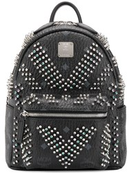 Mcm Embellished Monogram Backpack Black