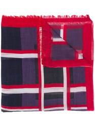 Faliero Sarti Striped Scarf Red