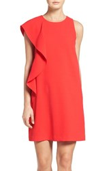 Chelsea 28 Women's Chelsea28 Asymmetrical Ruffle Shift Dress Red Grenadine