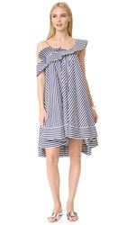 Msgm Stripe Ruffle Dress Navy White