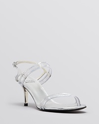 Stuart Weitzman Open Toe Evening Sandals Cinematic Mid Heel Silver