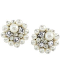 Carolee Silver Tone Crystal And Imitation Pearl Cluster Clip On Stud Earrings